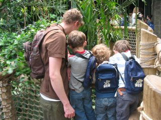 Checking out the bird sanctuary at the Seattle Zoo in Woodland Park