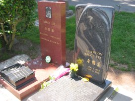 The gravesite of Bruce and Brandon Lee