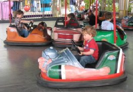 bumper cars at the Space Needle in Seattle, WA