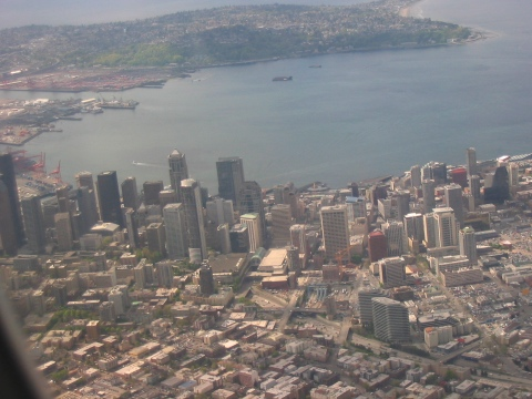 View from a flight into Seattle