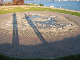 The sundial at Gasworks Park in Seattle, WA