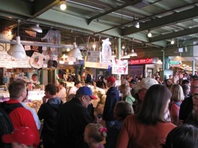 Crowded Fish Market at Pike Place