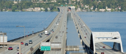 The Seattle Marathon route along I-90, the floating bridge)