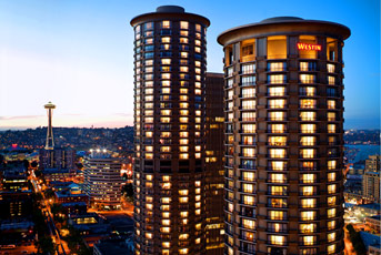 Exterior view of the Westin Hotel in Seattle