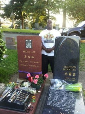 Standing at Bruce Lee's Grave