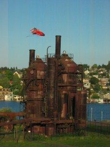 Flying kite at Gasworks Park