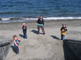 Drawing on the sand at Seattle Alki Beach