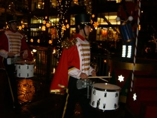 The parade of drummers during Christmas in downtown Bellevue.