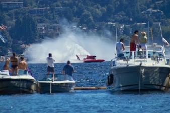 A shot of the Seattle Seafair hydroplane races